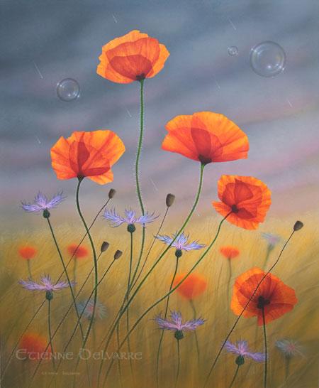 R aliser une tude de couleurs au pastel artiste animalier for Tableau de coquelicot en peinture