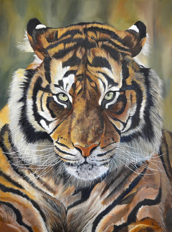 Peinture à l'huile de Tigre de Sumatra